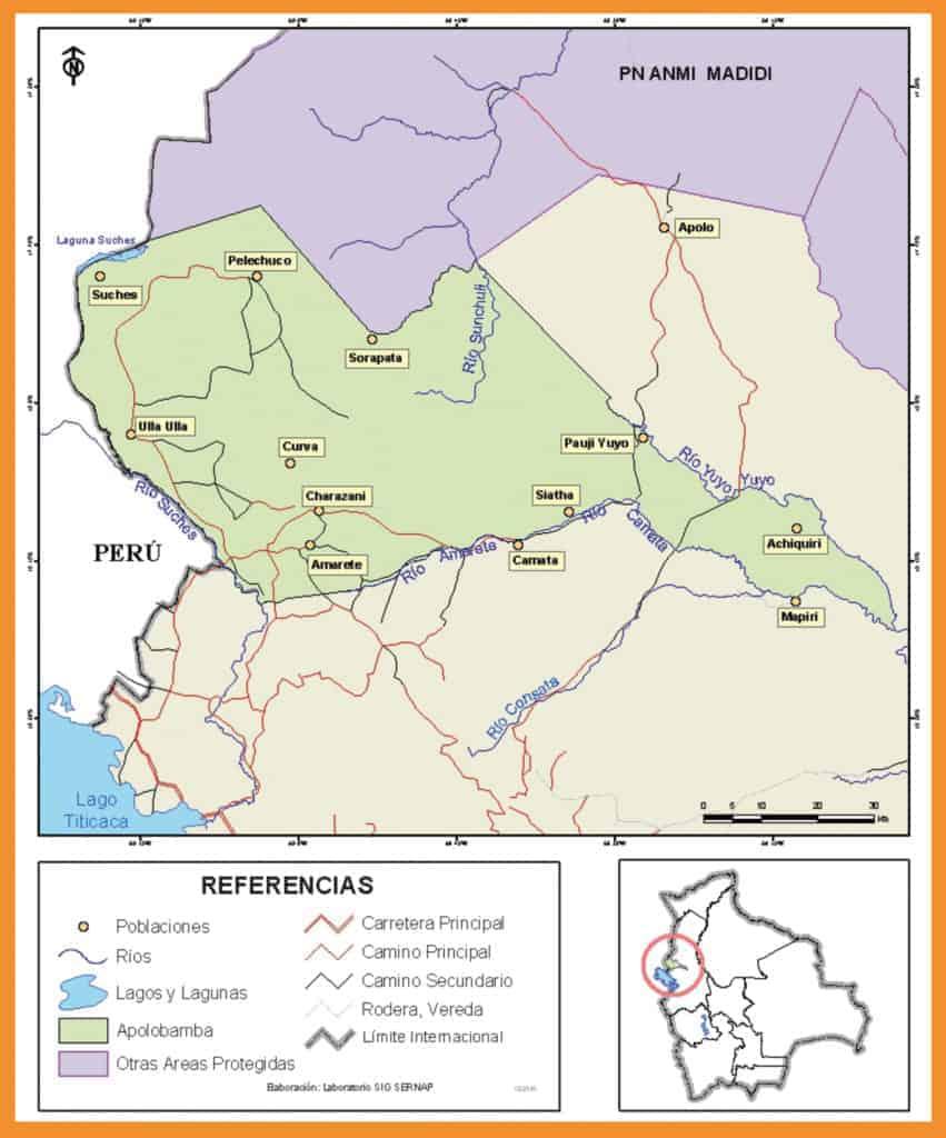 Mapa Área natural de manejo integrado APOLOBAMBA