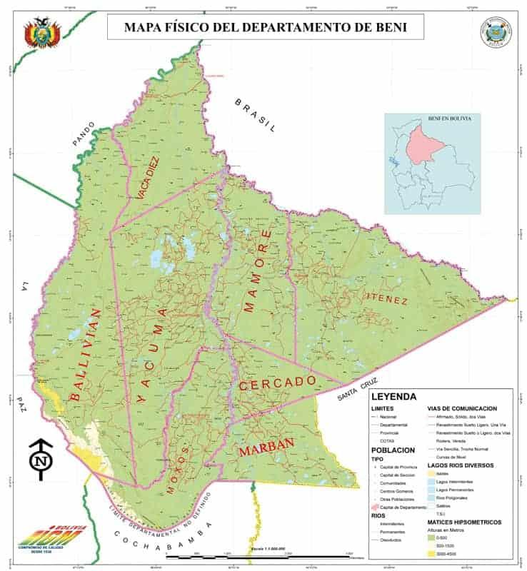Mapa Físico del Beni