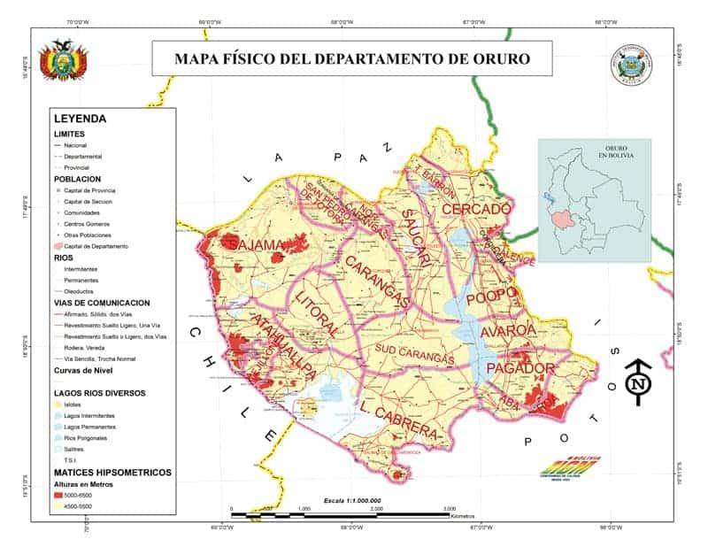Mapa Física de Oruro