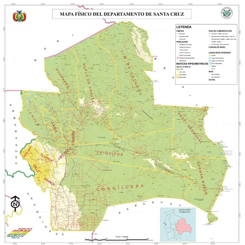 Mapa Físico de Santa Cruz