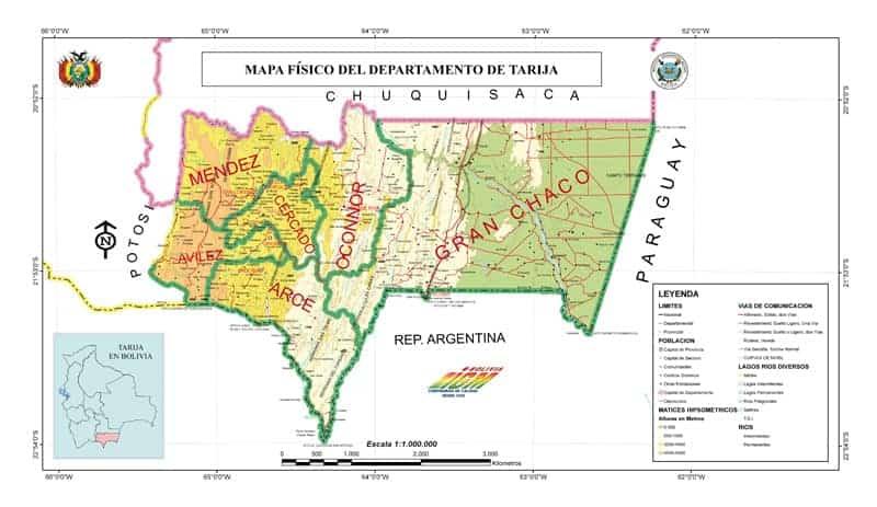 Mapa Físico de Tarija