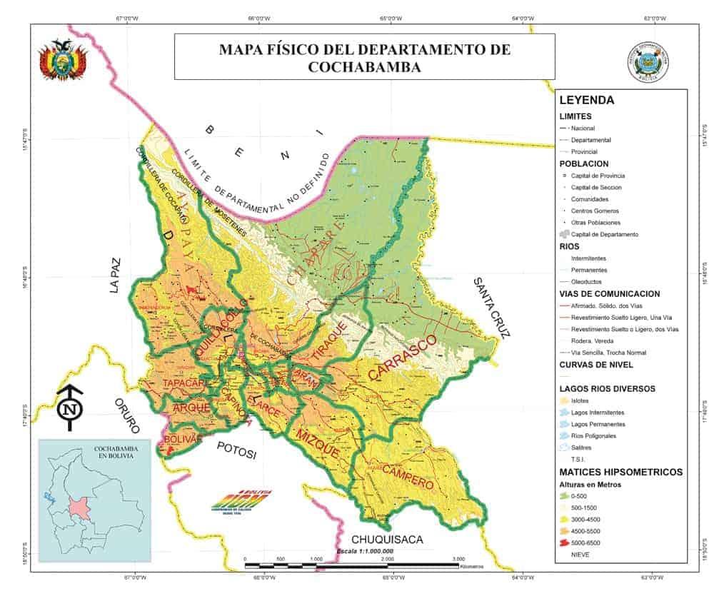 Mapa Físico de Cochabamba