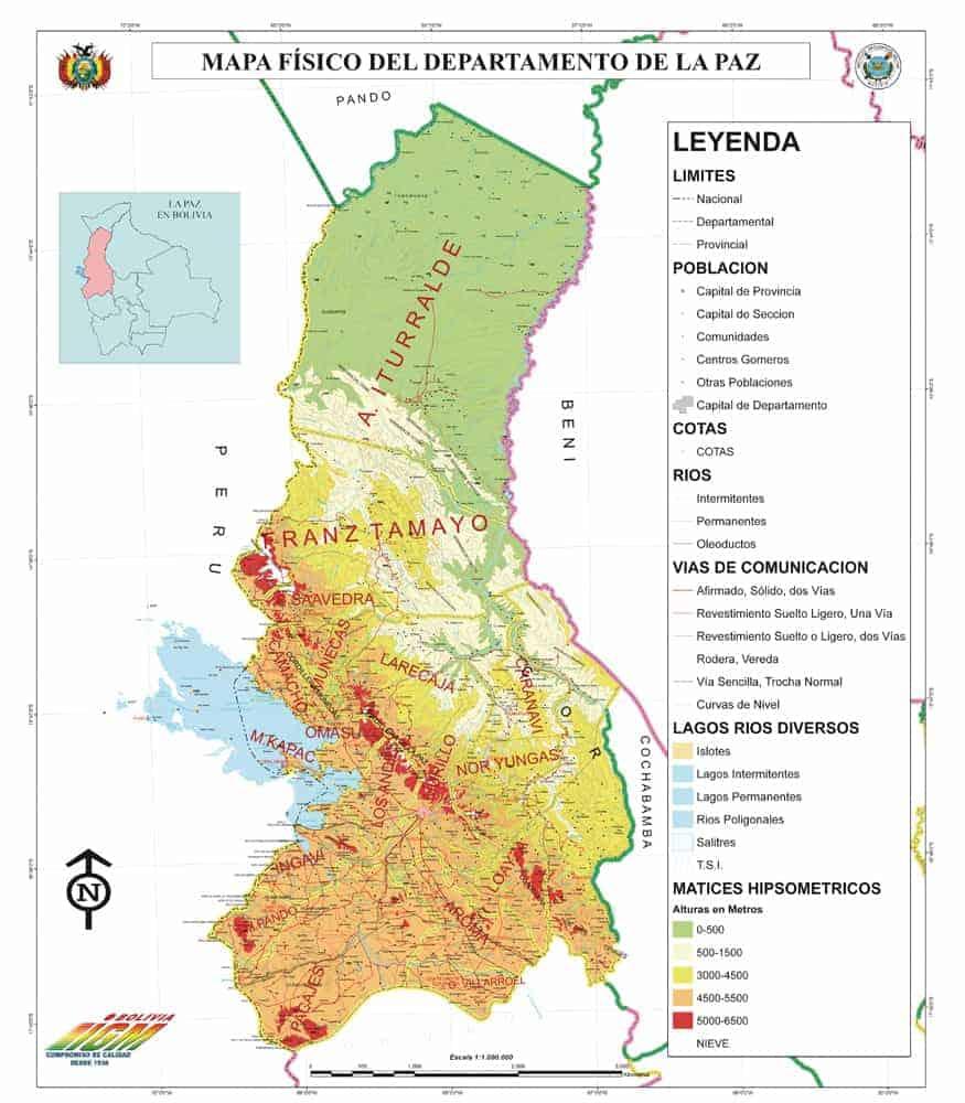 Mapa Físico de La Paz
