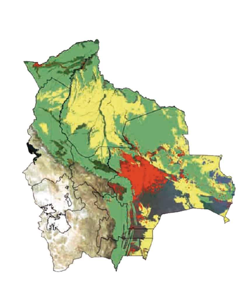 MAPA DE DEFORESTACIÓN EN BOLIVIA periodo: 1975-2011 (En rojo lo deforestado)