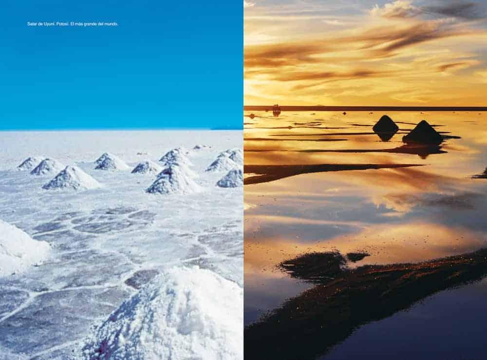 Salar de Uyuni de día y de noche.
